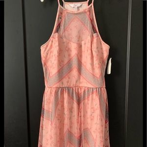 Juniors candies sheer overlay fit and flare dress